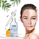 Hyaluronic Acid Serum for Face, LuckyFine Natural Pure Facial Vitamin C Serum for Anti-Aging, Anti Wrinkle, Moisturizer for Dry Skin & Fine Lines 1.0 oz