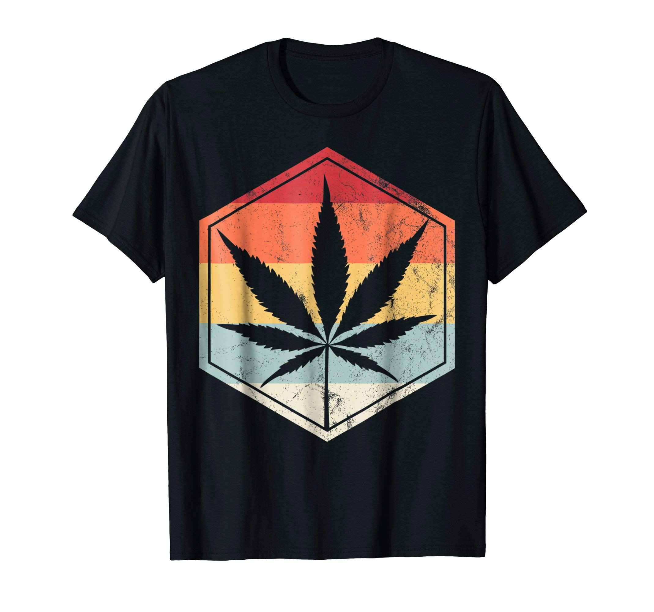 Weed Vintage T-Shirt Marijuana Cannabis Leaf Retro TShirt