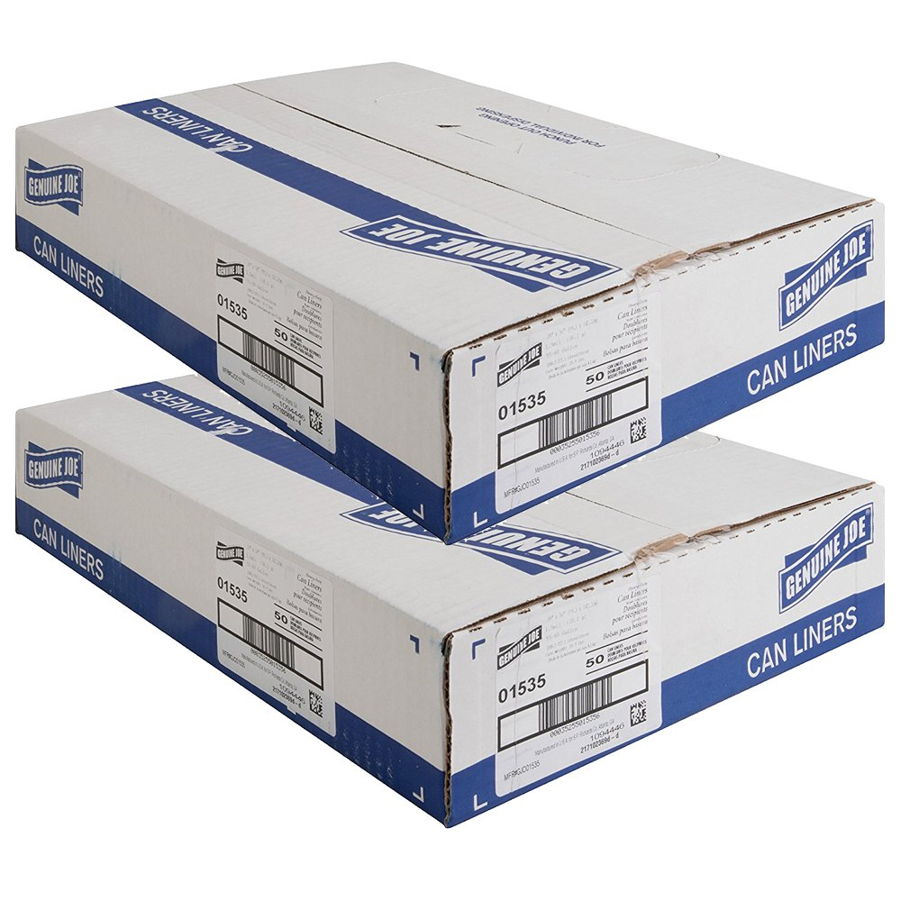 Black 56 Length x 39 Width x 1.50 mil Thickness Box of 50 Genuine Joe GJO01535 Heavy Duty Low-Density Puncture Resistant Can Liner 60 gallon Capacity