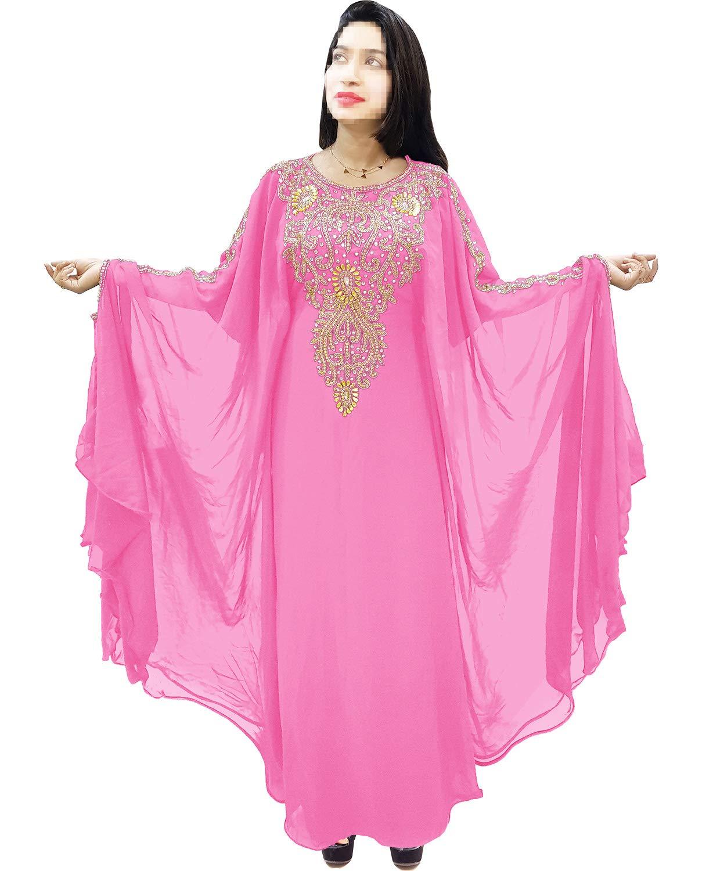 African Boutique Dubai Kaftan for Women Beads Work Maxi Dress Gown Formal Chiffon African Wear Baby Pink