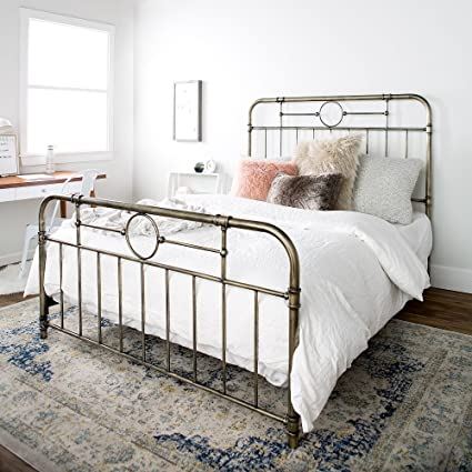 Amazon.com: New Queen Size Metal Pipe Bed Frame with Headboard and ...
