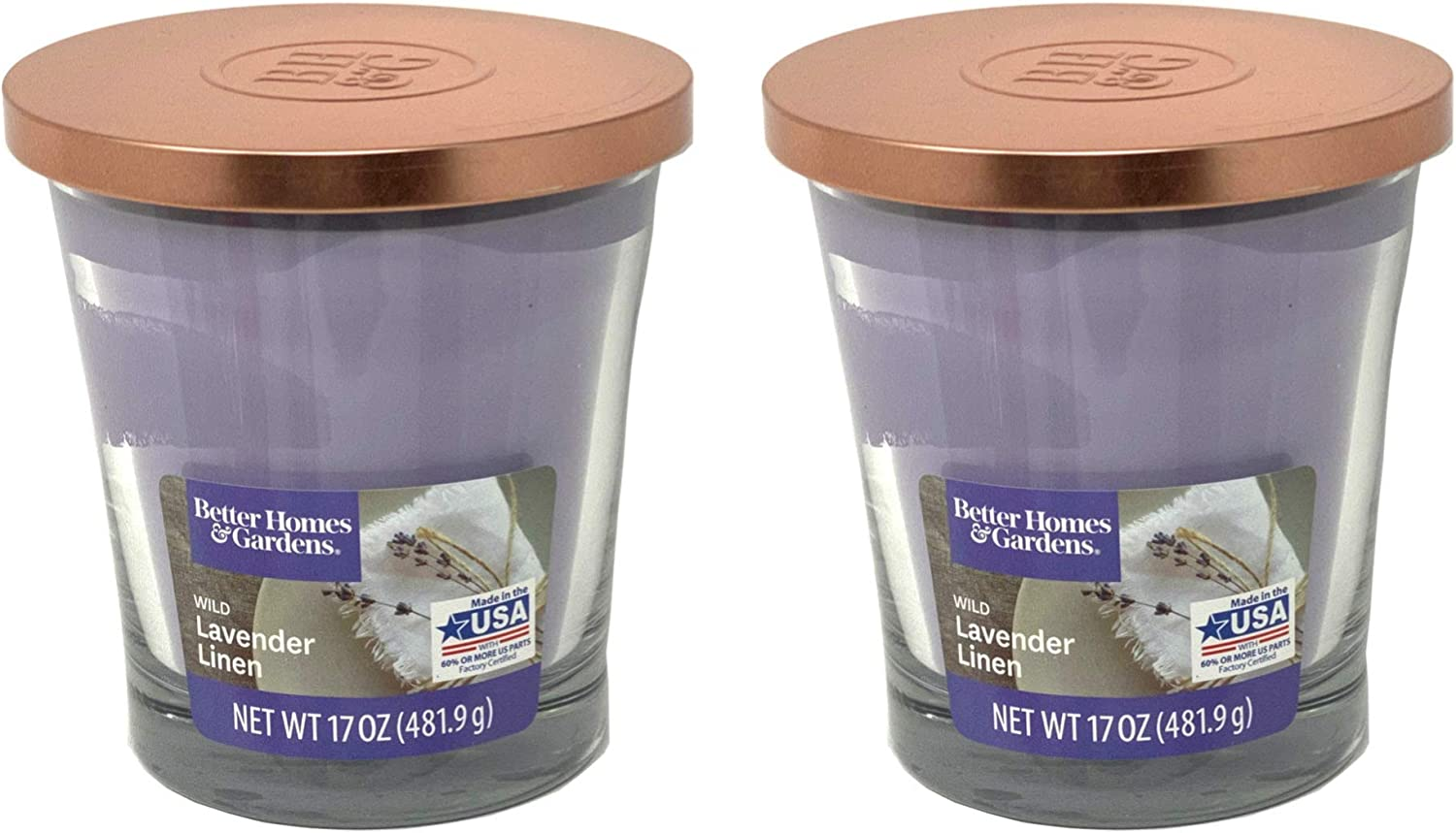 Better Homes Gardens 17oz Scented Candle, Wild Lavender Linen 2-Pack