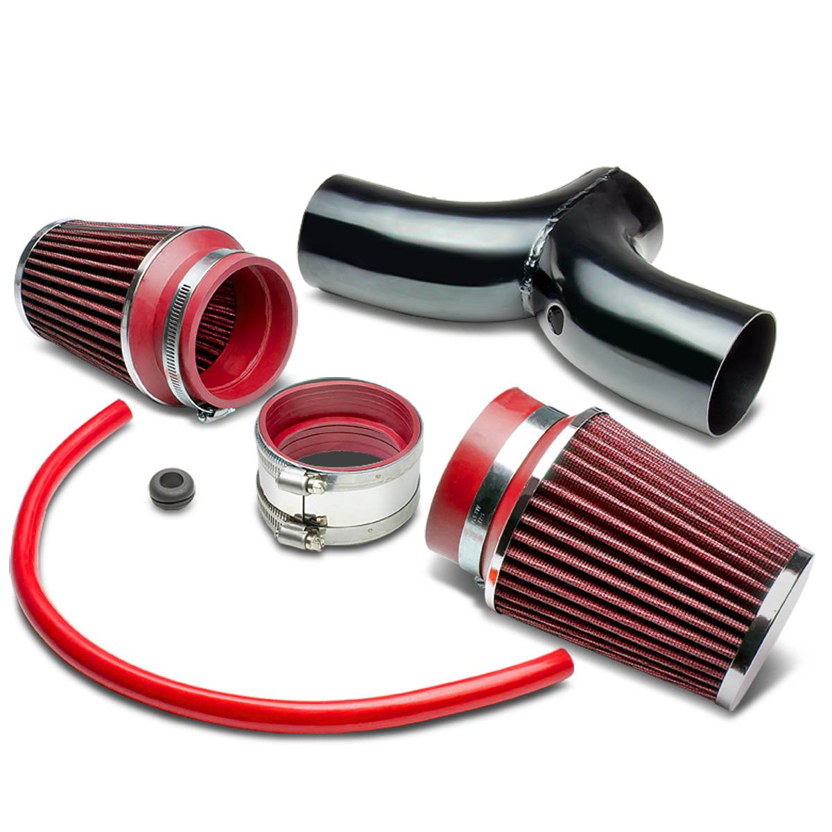 For Dodge SUV/Truck Cold Air Intake Pipe Kit Set (Black Pipe+Red Filter)