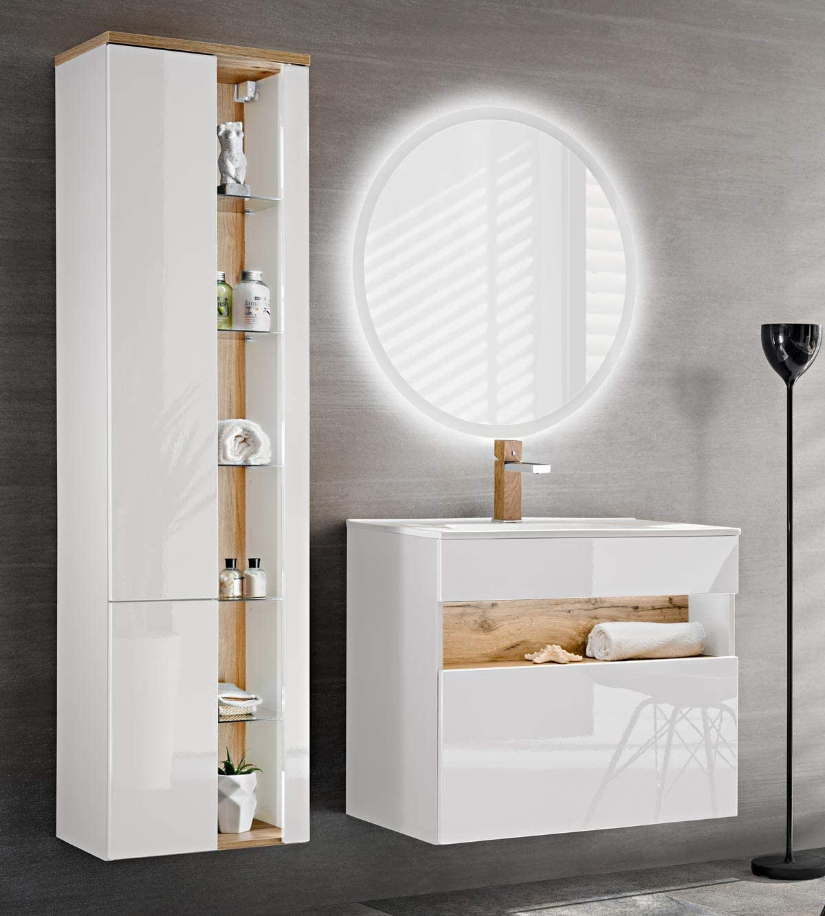 Lavabo Armadio Mobile Lavabo Set da 5 Pezzi WFL GROUP Mobili Bagno Bianco Lucido Armadio a Specchio con LED