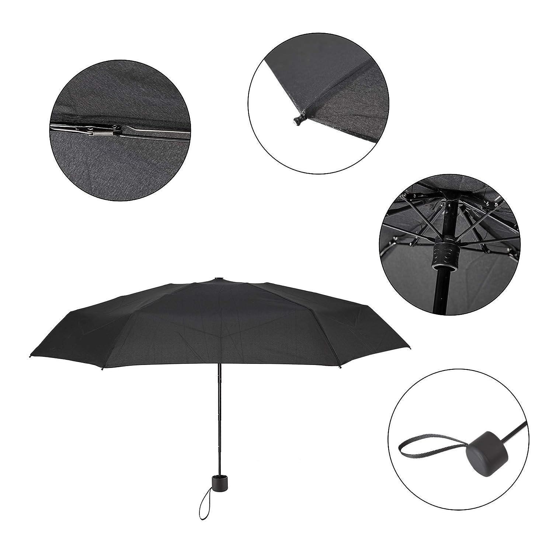 Bleu Fonc/é Ultra L/éger Parapluie de Poche de Voyage pour Femme Homme Enfant Atuka Mini Compact Parapluie Pliant