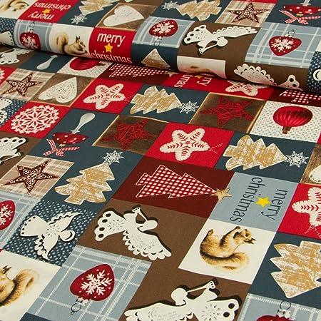 sustancias Werning Tela de algodón Navidad Patchwork Estrellas ángel Rojo Gris – Precio DE 0,5 m: Amazon.es: Hogar