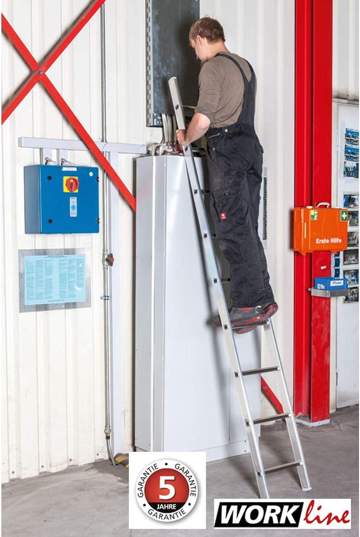 Euro Line peldaños de aluminio anlege Escalera – Work 13 peldaños – Longitud 3,75 m 100% aluminio, 3,75 m, altura de trabajo 4,95 m: Amazon.es: Bricolaje y herramientas
