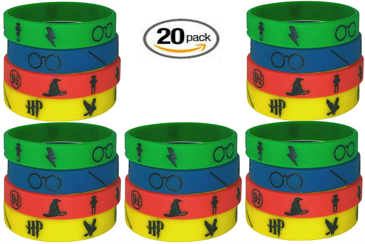 Child, Harry Potter 4 20 pc Harry Potter Silicon Wristbands BlueBell. Kids Party Favors