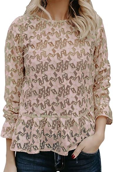 Camisas Encaje Mujer Otoño Manga Larga Cuello Redondo Estrellas Patrón Blusa Encaje Elegantes Informales Basic Fashion Transparentes Camisetas Camisas Señoras Ropa: Amazon.es: Ropa y accesorios