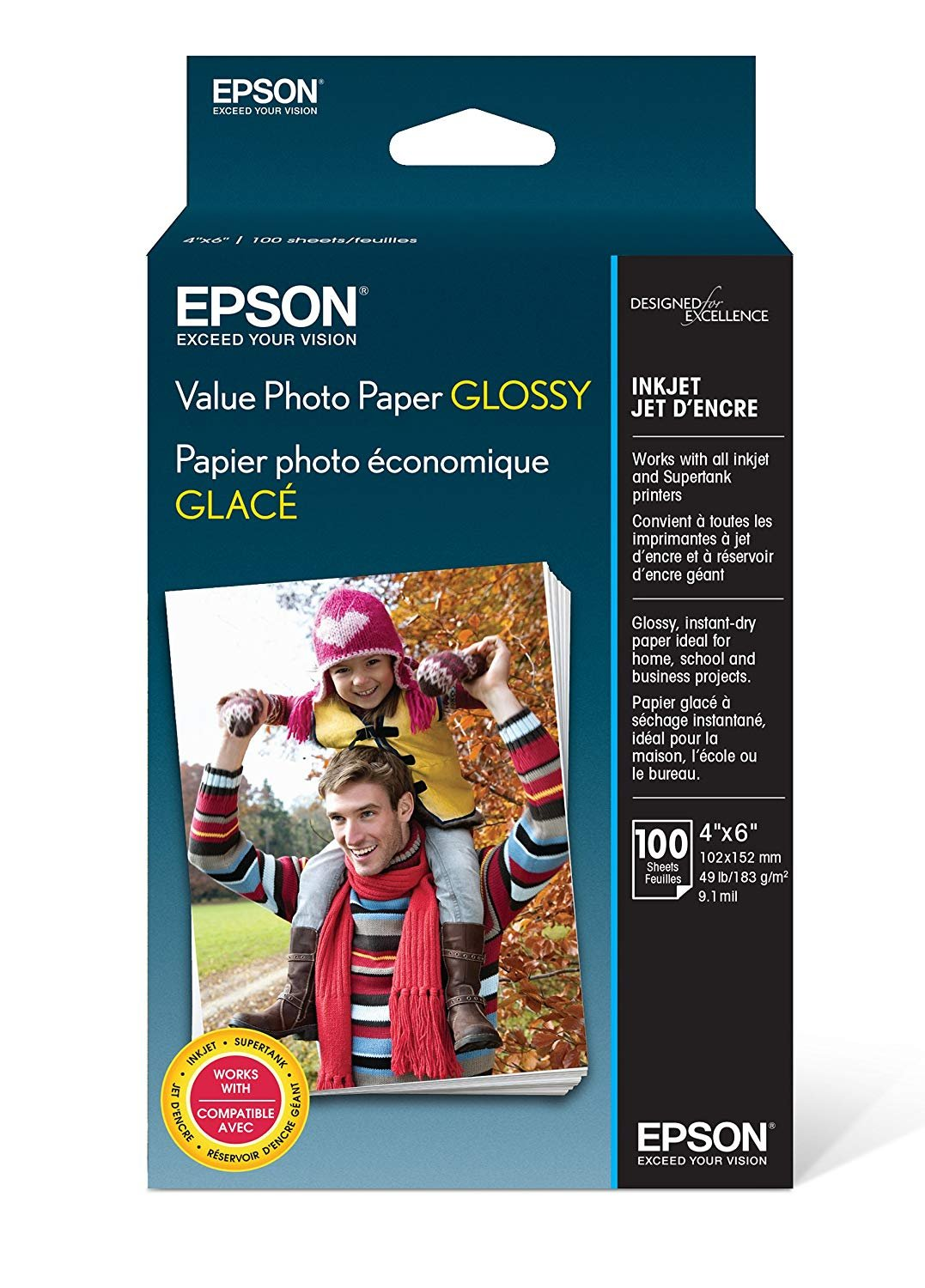 Epson Value Photo Paper Glossy, 4''x6'', 100 Sheets (S400034) 3 Pack