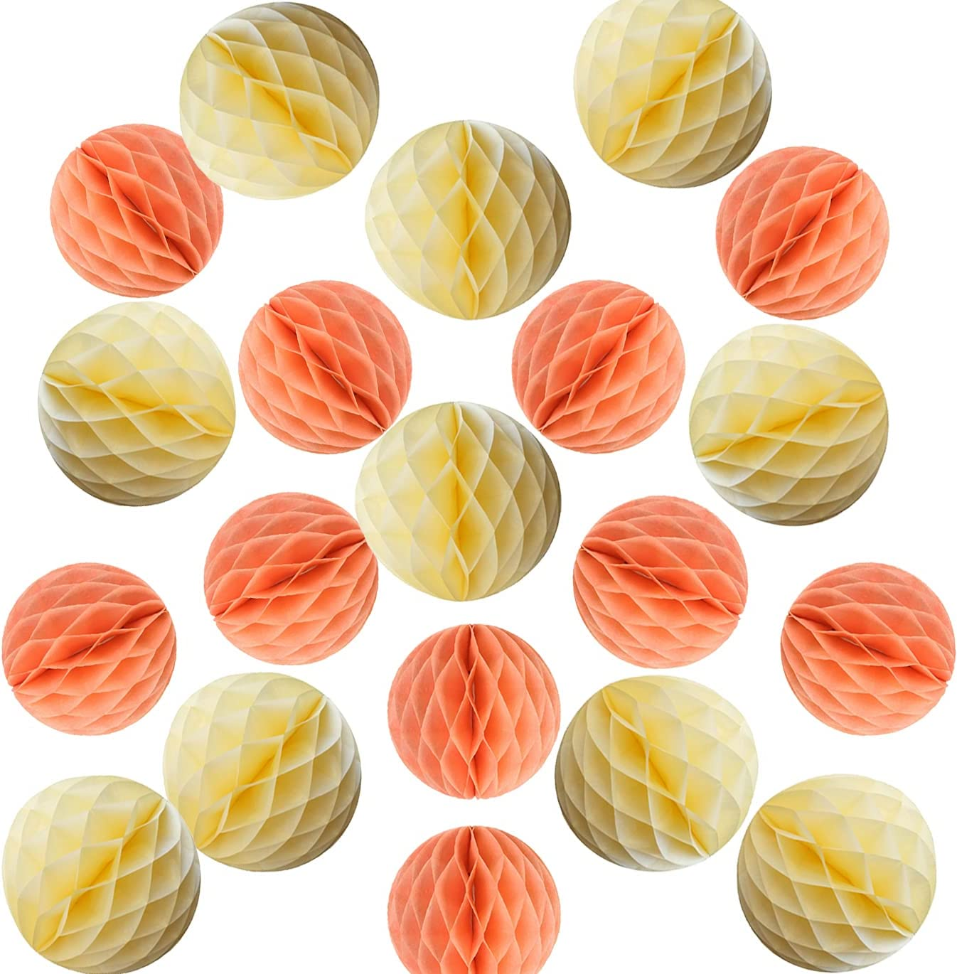 YLY's love 20pcs Pom Poms Tissue Paper Honeycomb Balls Flower Ball Wall Decor Pom Poms Decoration for Birthday Party Wedding (Peach Yellow, 20pcs-4inch,6inch)