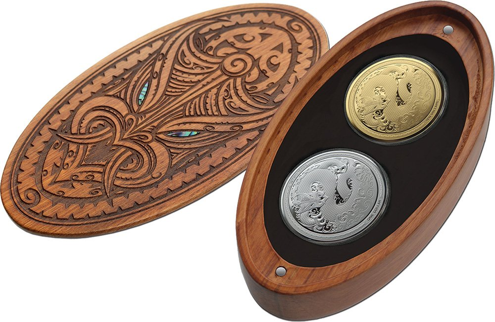 energia Coin Mythical TANIWHA Maori Tekau Tara Set 2x1 Oz Moneta argentoo 1  oro 10  nuovo Zeale 2017