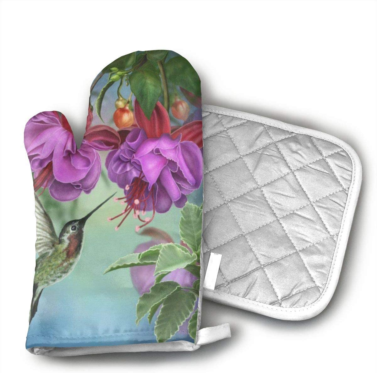 PanXaima Spring Hummingbird Long Oven Gloves Non-Slip Kitchen Oven Mitts Heat Resistant Cooking Gloves for BBQ,Baking,Grilling,Barbecue Potholder