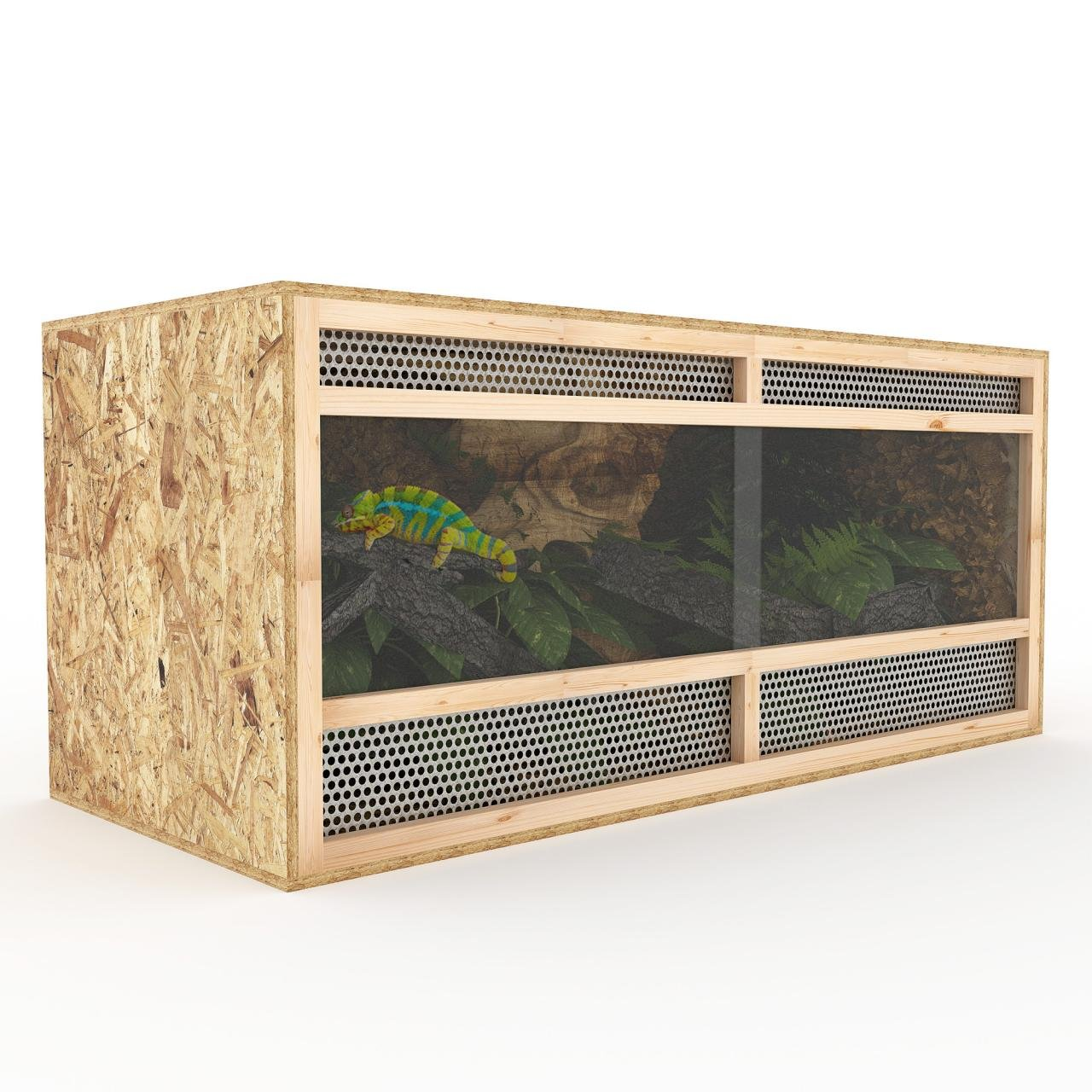 Terrarium aus Holz 120 cm breit aus OSB Platten Holzterrarium mit Seitenbelüftung Happypet