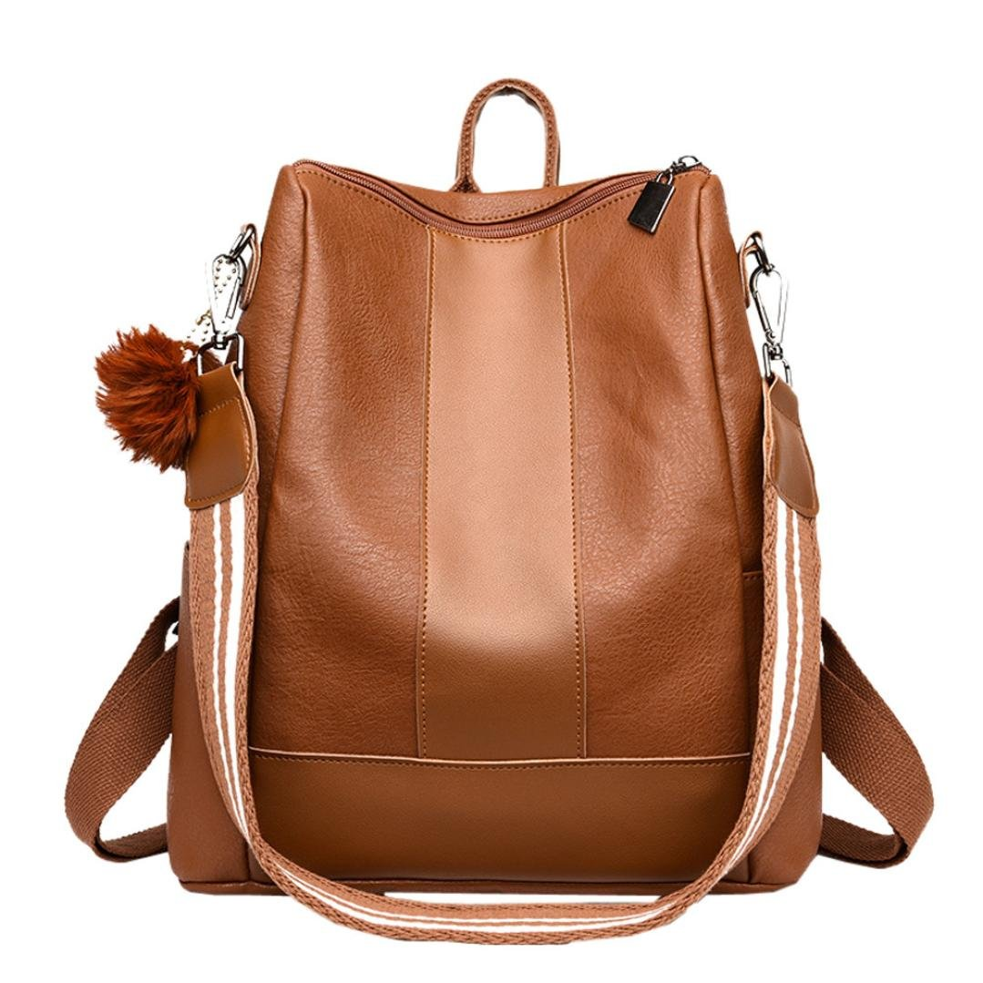 LLguz Women PU Leather Hairball Zipper School Bag Hit Color Backpack Satchel Travel Shoulder Bag Backpack Elegant Soft Satchel Handbag (Brown)