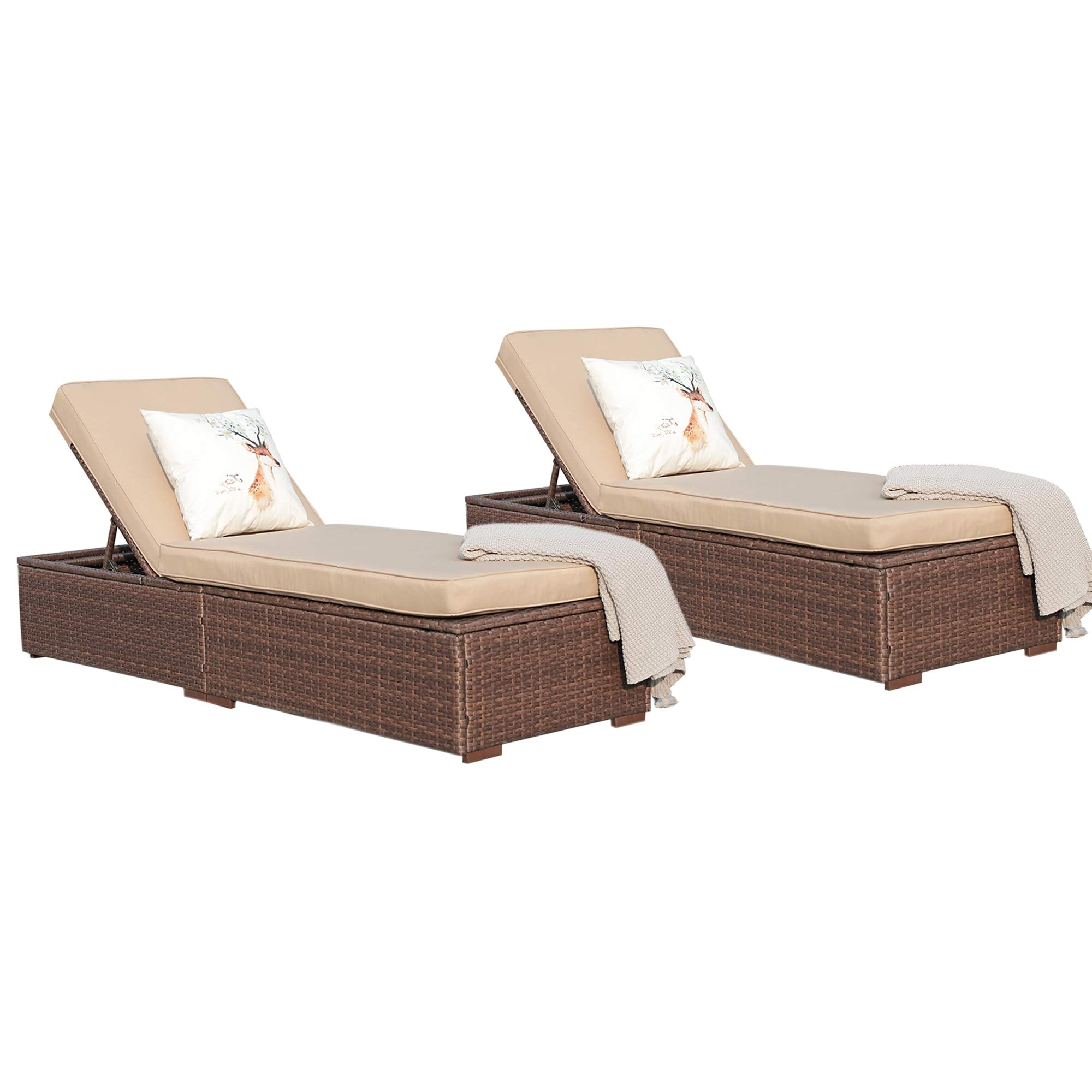 Super Patio Outdoor Adjustable Pool Wicker Rattan Chaise Lounge Chair Steel Frame, Beige Cushions, Brown PE Wicker,Set of 2 by Super Patio