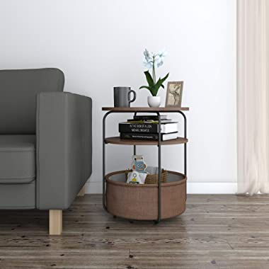 Lifewit Small Round Side Table End Table with Fabric Storage Basket in Livingroom, Storage Table for Kids, Pet Bed, Nightstand in Bedroom, Espresso, Super Easy to Assemble