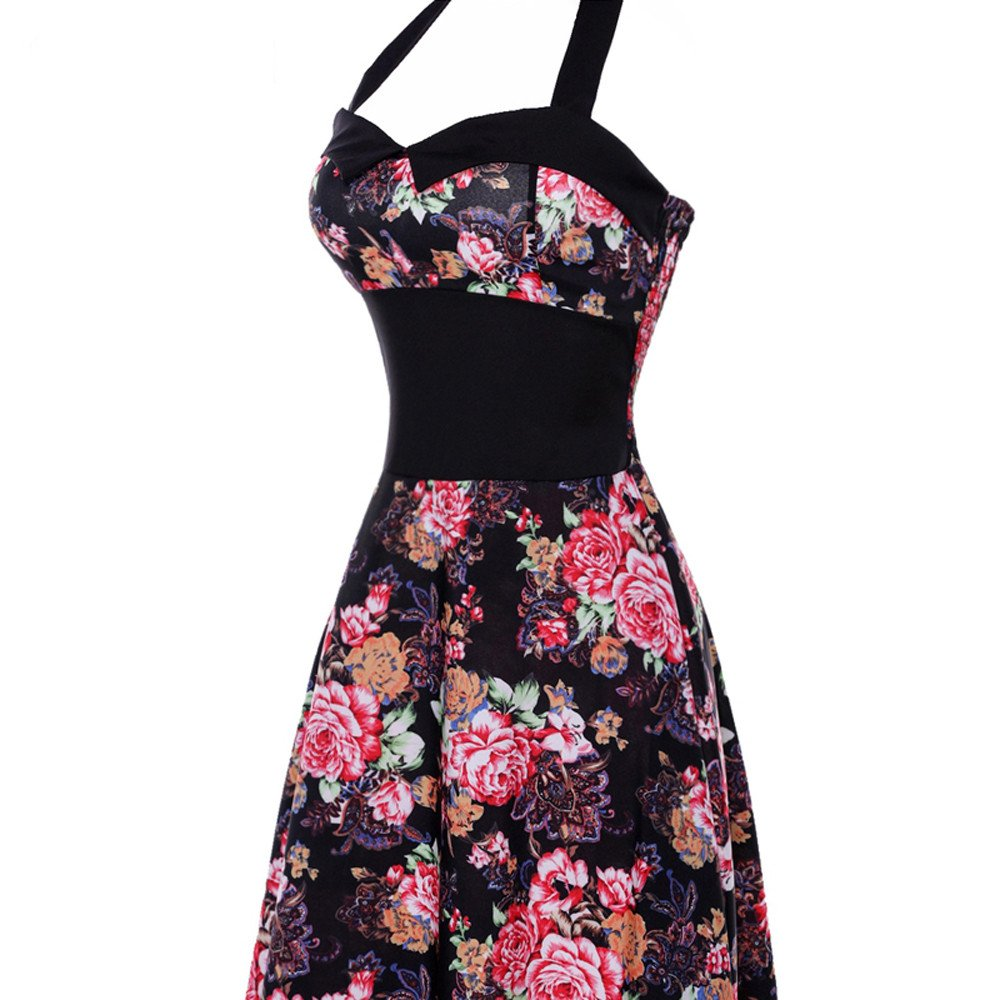 Clearance! 50S 60S Vintage Dresses for Women Casual Evening Party Pleated Print Prom Swing Halter Summer Dresses by Wugeshangmao Dress (Image #2)