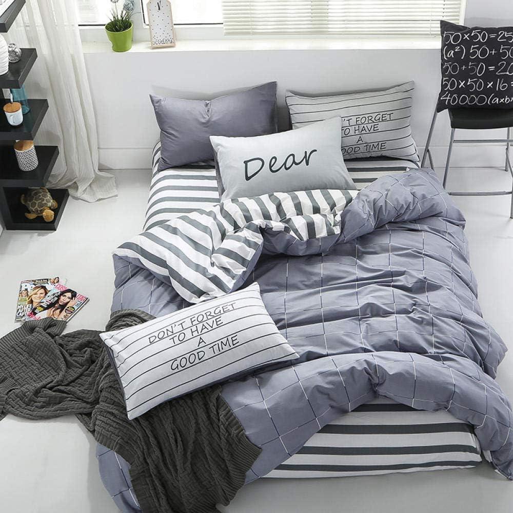 Ropa de Cama para Dormitorio, Cama a Cuadros de algodón a Rayas de ...