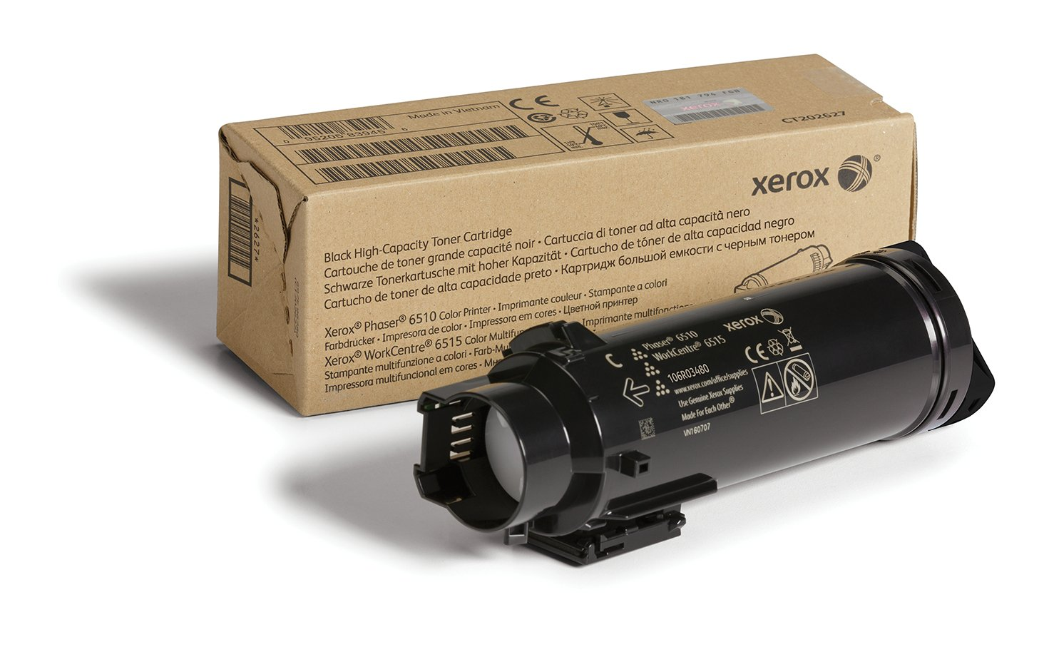 106R03480 Xerox Genuine Phaser 6510//WorkCentre 6515 Black High Capacity Toner Cartridge 5,500 Pages