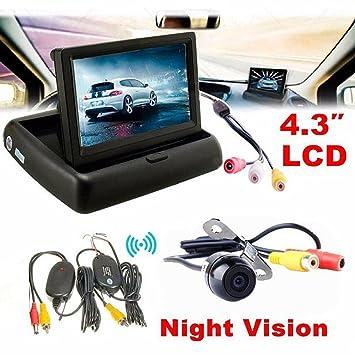 Kit de aparcamiento, Hansee® 4.3 Monitor de visión trasera para coche inalámbrico para coche cámara de copia de seguridad sistema de aparcamiento Kit: ...