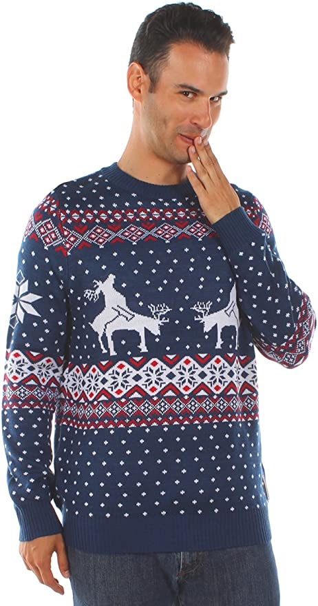 Reindeer Climax Tacky Christmas Sweater Blue Tipsy Elves Mens Ugly Christmas Sweater