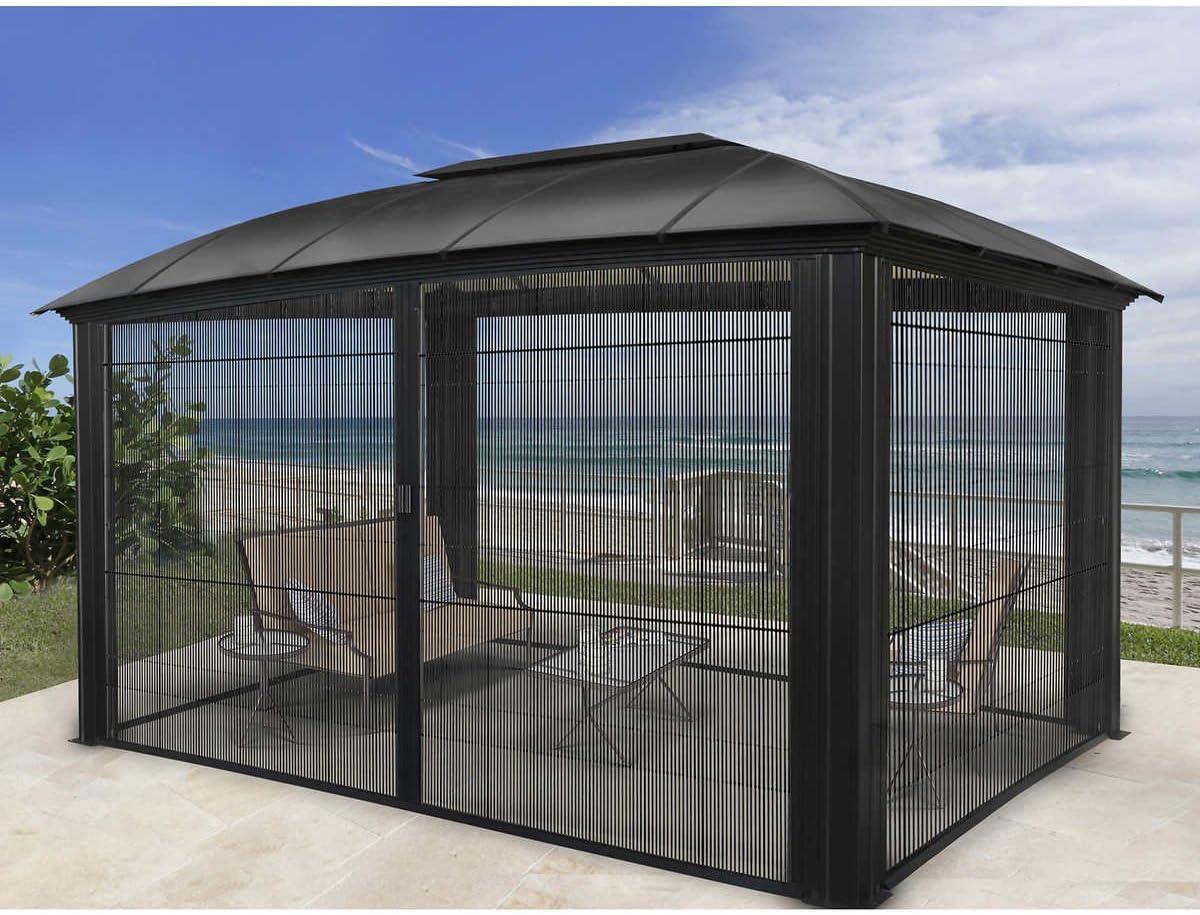 Siena – Cenador de corredera de aluminio protector de puerta 12 x 16 pies: Amazon.es: Jardín