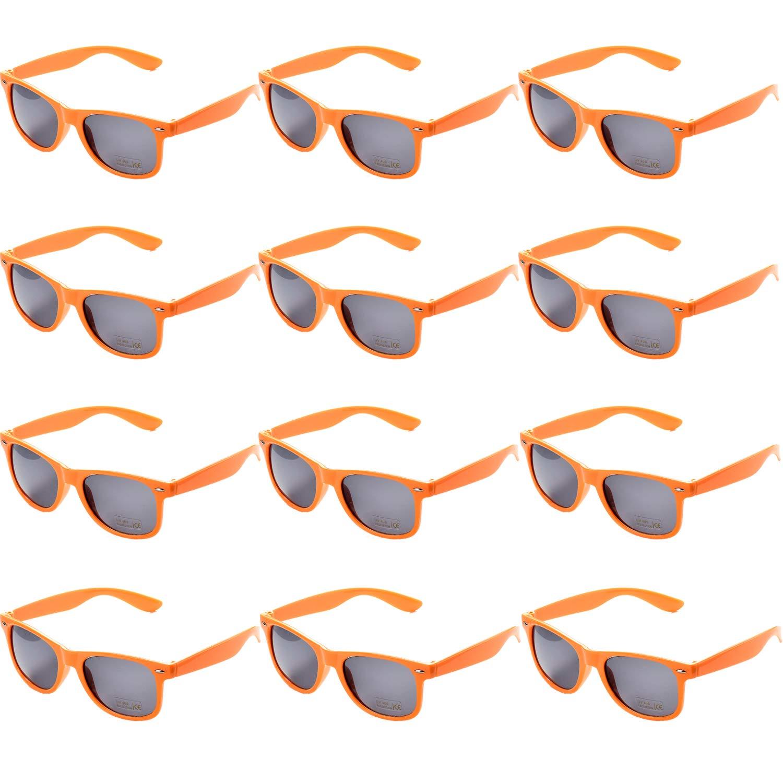 OAONNEA Annee 80 Lot Lunettes de Soleil Couleur pour Enfants Adulte Lunette Pack de Fete (12argent)