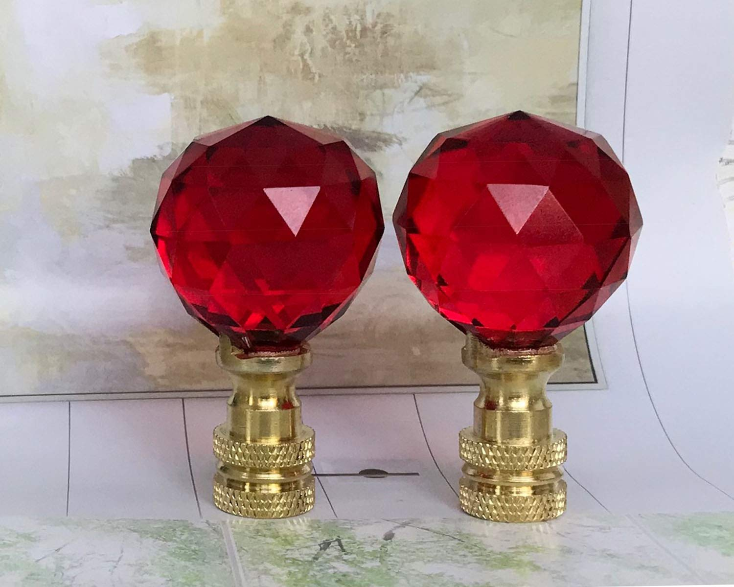 2 of 26% Lead Glass Crystal Red Lamp Shade Finials 30mm