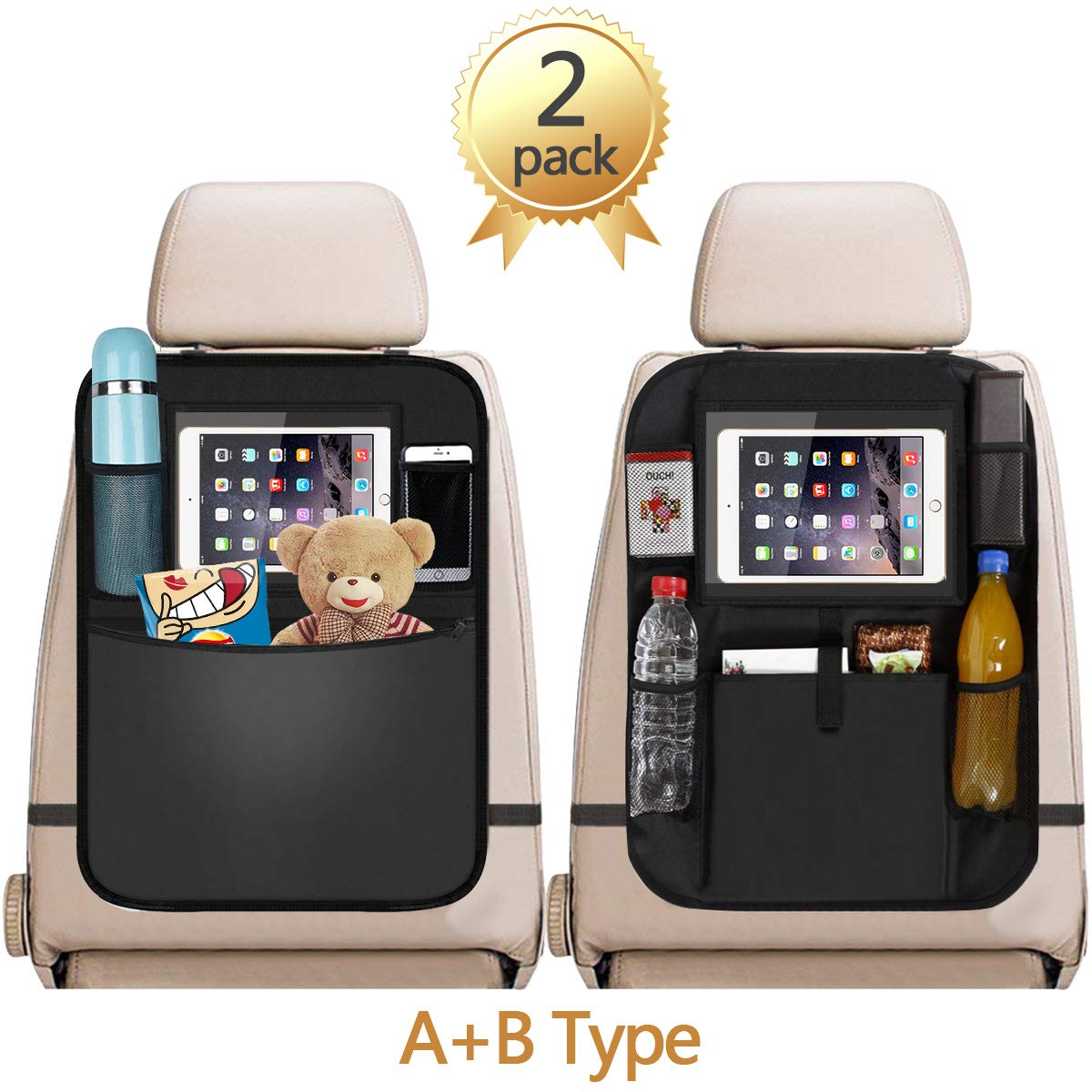 Car Back Seat Organizer, 2Pcs Oxford Waterproof Car Front Seat Protector, Multi-Pocket Car Hanging Storage Bag for iPad Tablet Bottle Drink Tissue Box Toys Vehicles Travel Accessories Acehome