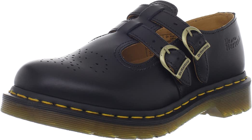 Dr Martens Women/'s Cammey Mary Jane Smooth Leather Buckle Shoe Black