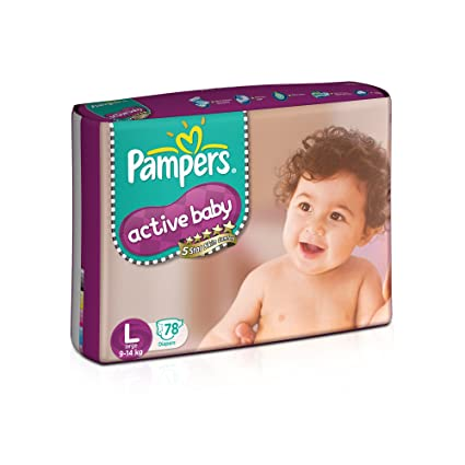 3df9a928c28 Buy Pampers Active Baby Large Size Diapers (78 count) Online at Low Prices  in India - Amazon.in