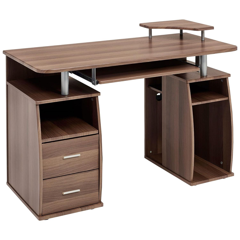 table drawers homcom desk storage shelves office workstation home pc computer itm