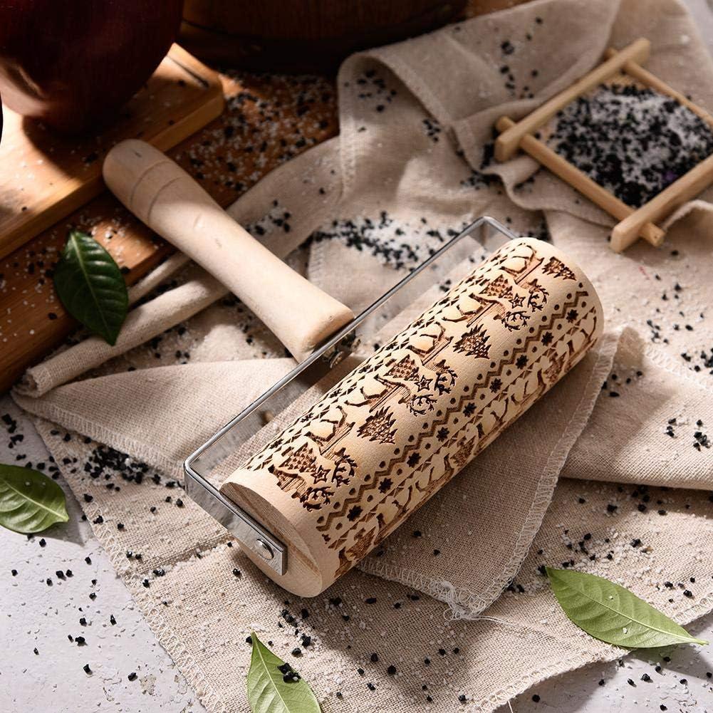 Spekulatiuswalze DIY K/üchenhelfer F/ür Weihnachtsthema Fondant Kuchen Teig Keks Backen Dekoration Weihnachten Pr/äge Nudelholz 3D Holz Nudelholz Mit Weihnachtsbaum Hirsch Schneeflocke Symbole