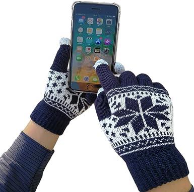 iEverest Unisex Guantes para pantalla táctil Guantes Copos de nieve Guantes amante Gruesos smartphone guantes para pantalla táctil para Hombre/Mujer (Azul marino): Amazon.es: Ropa y accesorios