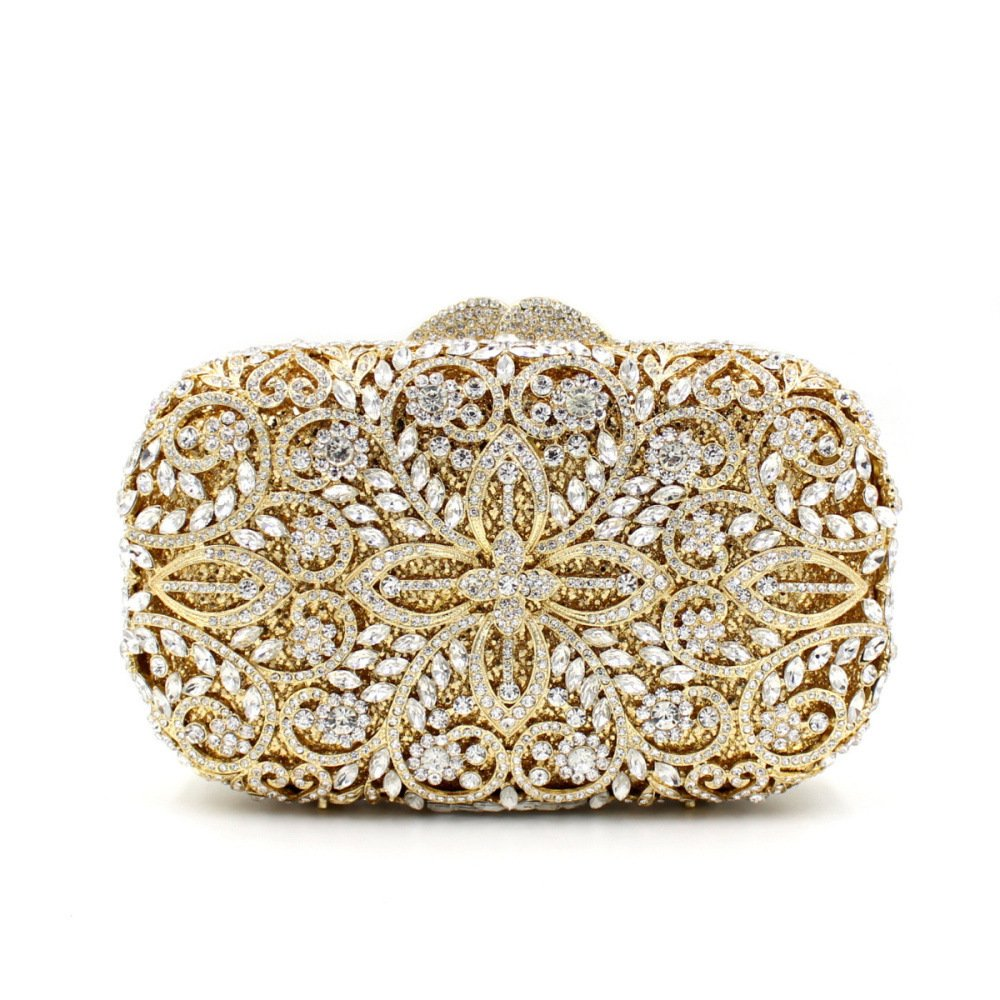 GSYDXKB Abend Party Tasche Cocktail Party Perle Tasche Rhinestone Bag Hollow Metal Crystal Evening Bag Hand-Studded Bag Ladies Clutch Bag