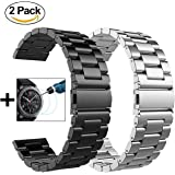 V-MORO Metal Strap Compatible with Galaxy Watch 46mm Bands/Gear S3 Classic Band 22mm Black Stainless Steel +Silver Band Replacement for Galaxy Watch 46mm R800/Gear S3 Frontier