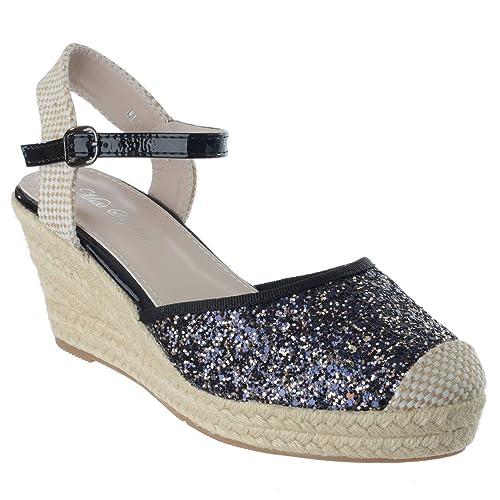 Miss Image UK Mujer Tacón Cuña Baja Alpargatas Tira en Tobillo Purpurina Sandalias Números: Amazon.es: Zapatos y complementos