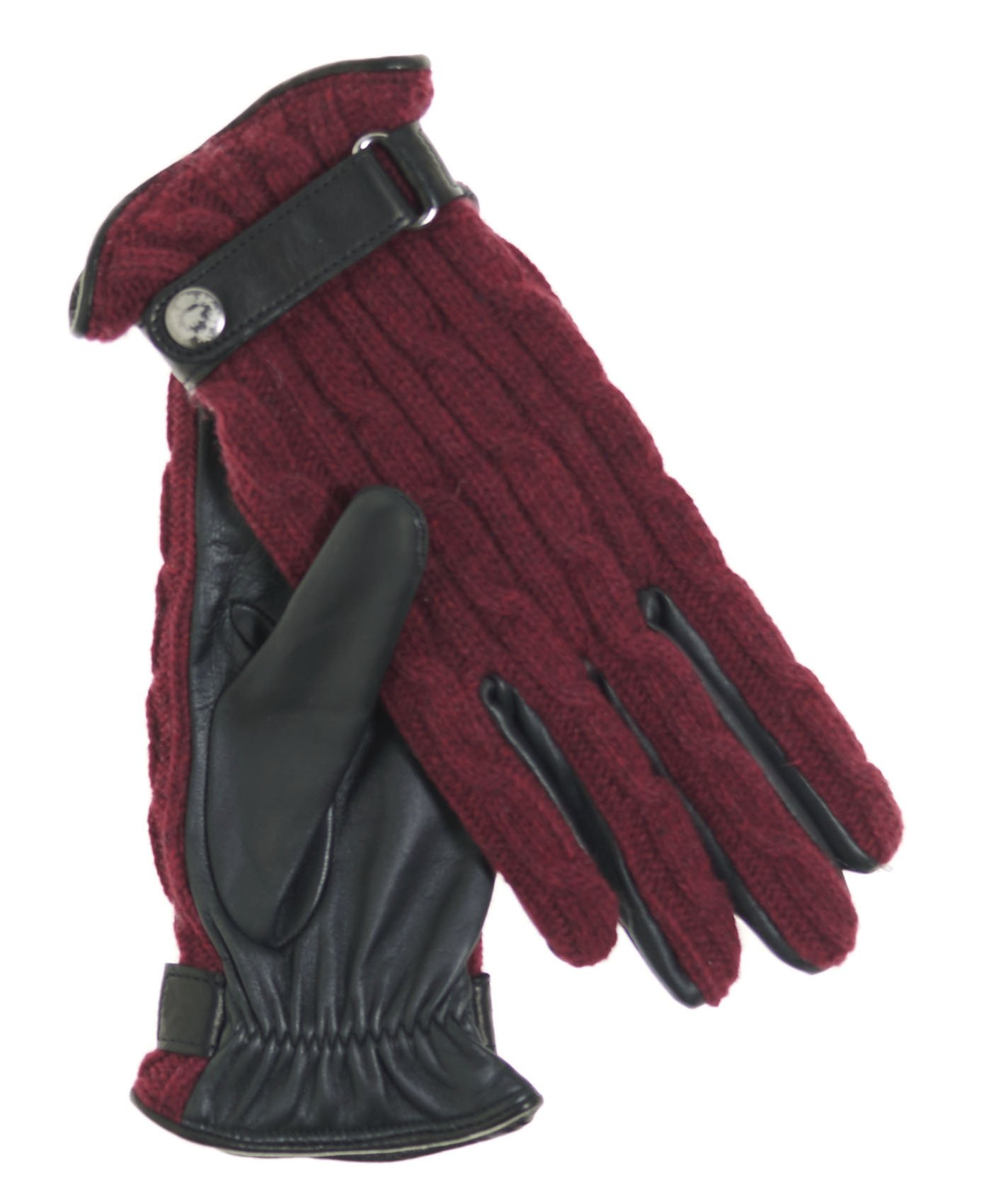 Fratelli Orsini Women's Italian Cable Knit Cashmere and Leather Winter Gloves Size 8 Color Red