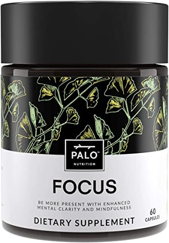 Focus All-Natural Brain Booster Nootropic for Memory Mental Clarity – with Ginkgo Biloba, Bacopa Monnieri, Gotu Kola, Ashwagandha, Mucuna Pruriens and Turmeric by PALO Nutrition