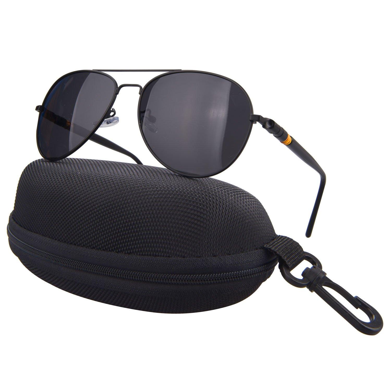 5a0e12a2acc JWGJW 888-1 Aviator Polarized Sunglasses Metal Frame Pilot Glasses Polarized  100% UV protection Men Women (black