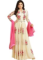 Dhruv Fab Women's Georgette Embroidered Anarkali Gown (Cream Color_Free Size)