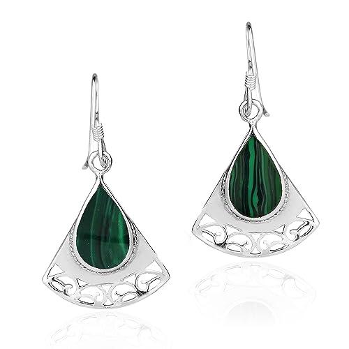 Triangle Swirls Teardrop Green Malachite Sterling Silver Dangle Earrings
