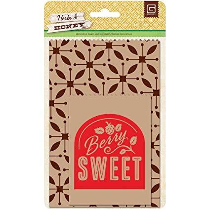 Amazon.com: Basic Grey Herbs & Honey Printed Kraft Bag ...