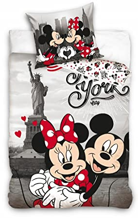 Disney Mickey Et Minnie Mouse Housse De Couette Simple Parure De Lit