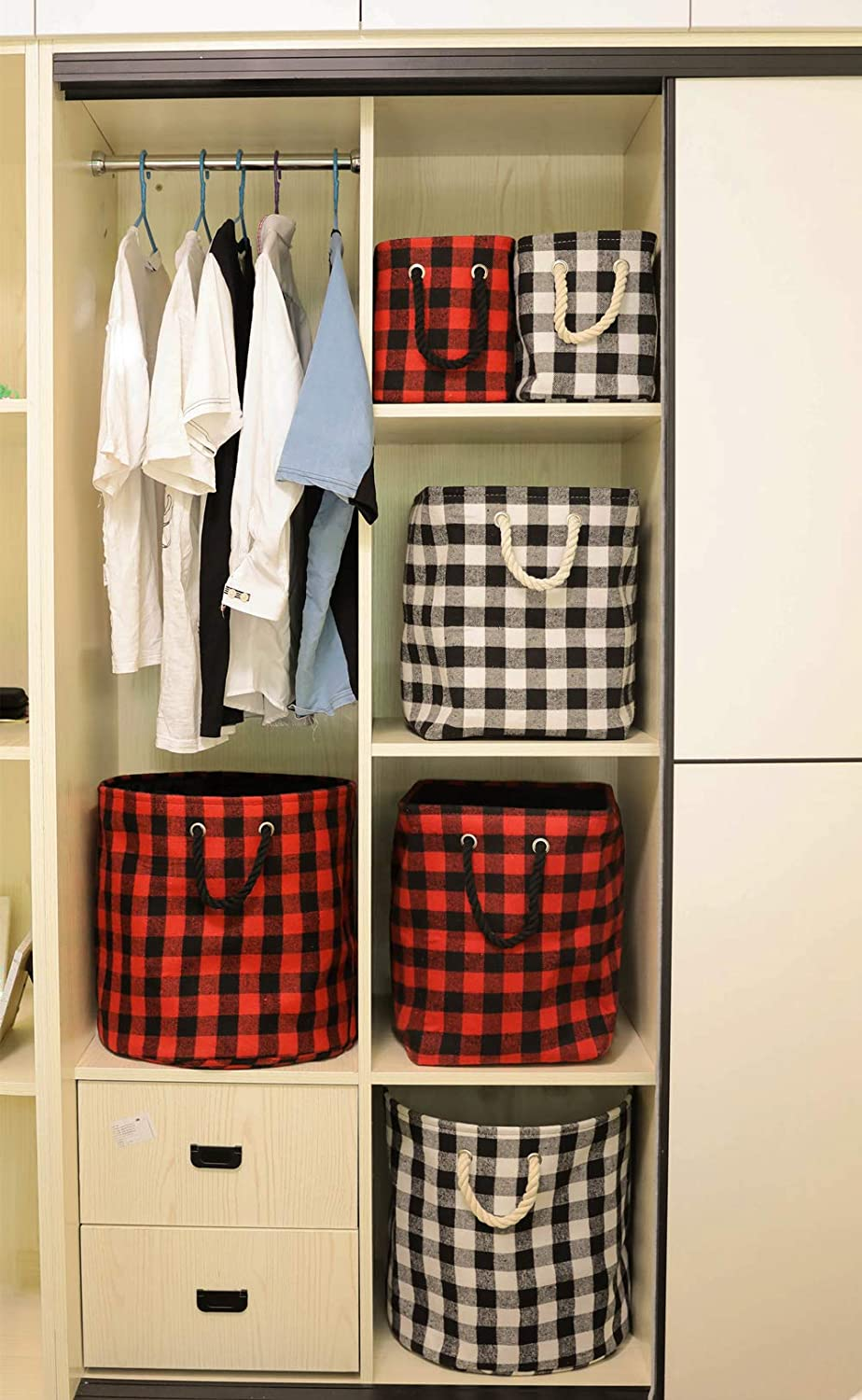 M Rectangular Open Storage Baskets Cubes Decorative Home Organizer Containers with Cotton Rope Handles Stylish Storage Solution for Home or Office Red Black Grid
