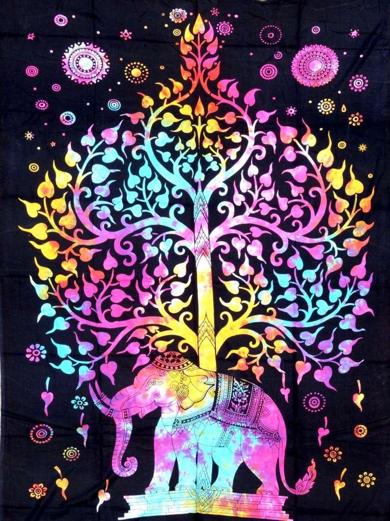 Cotton Hippy indische indische indische Mandala Wandbehang Bohemian Wurf Dekor Badspread Tapisserien (Elefant Multi - A) 58cc86