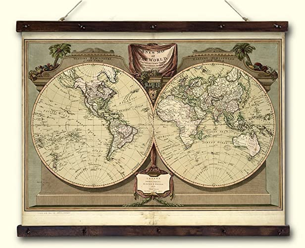 Amazon.com: Old Historical Map Print on Canvas, Map of the World ...