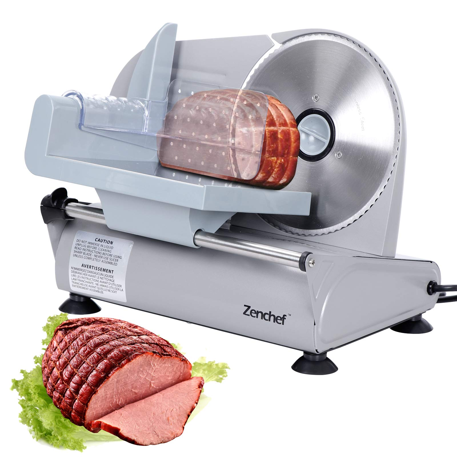 SUPER DEAL Premium Stainless Steel Electric Meat Slicer 7.5'' inch Blade Home Kitchen Deli Meat Food Vegetable Cheese Cutter - Thickness Adjustable - Spacious Sliding Carriage - Easy to clean - 100% Safe to Use by SUPER DEAL