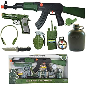 Buy Indusbay Complete Army Role Play Toy Set With 9 Piece Special Force Military Toys Ak47 Combat Gun Pistol Headphone Hand Granade Bottle Interphone More Cosplay Fancy Dress For Kids